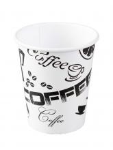Стакан картонный одинарный под горячие напитки Черный Кофе, 300 мл,  50 шт./упак.